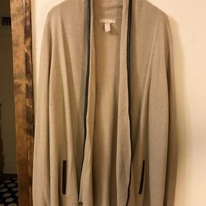 long cardigan with faux leather details